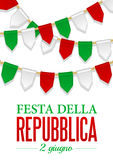 Text Italian Republic Day, 2 th of June. Vector illustration for National Day of Italy. Bunting decoration. In colors of flag. Garlands, pennants on a rope for Stock Images