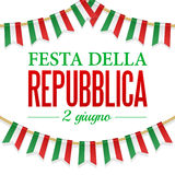 Text Italian Republic Day, 2 th of June. Vector illustration for National Day of Italy. Bunting decoration. In colors of flag. Garlands, pennants on a rope for Royalty Free Stock Photos
