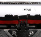 Text JA geschrieben mit der Schreibmaschine Lizenzfreies Stockfoto