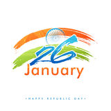 Text 26 January with National Flag for Republic Day. Stock Photos