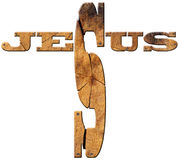 Text Jesus - Wooden Cross Royalty Free Stock Image