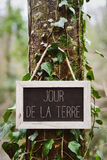 Text jour de la terre, earth day in french stock images