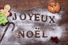 Text joyeux noel, merry christmas in french Stock Images