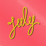 Text July on a Pink Pop Art Background Stock Photos