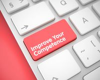 Improve Your Competence on Red Keyboard Keypad. 3D. Text on the Keyboard Enter Keypad, for Improve Your Competence Concept. Improve Your Competence Written on Royalty Free Stock Image