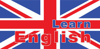 Text learn english on British flag Royalty Free Stock Image