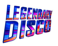Text legendary disco on a white background. 3d illustration. Text legendary disco on a white background Royalty Free Stock Photography