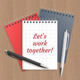 Text: lets work together Stock Photos