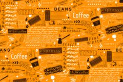 Text Lettering of Coffee and Cafe Terms Background. Seamless Vector Pattern and Texture royalty free illustration