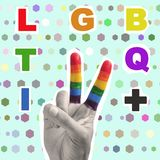 Text LGBTQI+ in a contemporary art collage. The text LGBTQI+, as magazine cutouts, and a hand doing the V sign patterned with the rainbow flag, on a green royalty free stock images