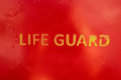 Text Life Guard sprayed a the wall of a life guard stand Royalty Free Stock Image
