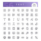 Text Line Icons Set. Set of 56 text editor line icons suitable for web, infographics and apps. Isolated on white background. Clipping paths included royalty free illustration