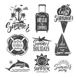 Text logo for summer party. Hand drown letters and design elements. Vector ilustrations set vector illustration