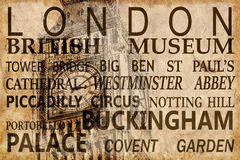 Text with London landmarks on Big Ben vintage background. Text with London landmarks on Big Ben vintage sepia background Royalty Free Stock Images