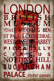 Text with London landmarks on red phone box vintage background Royalty Free Stock Photos