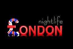 Text London nightlife with currency symbol Royalty Free Stock Images