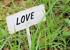 Love text banner green, park, garden, outdoors. Text Love banner outdoor, green, park, garden, on a rustic background Stock Images