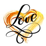 Text LOVE calligraphy flourish on a background of a golden heart. Happy Valentines day card Font Type. Fun brush ink Stock Photo