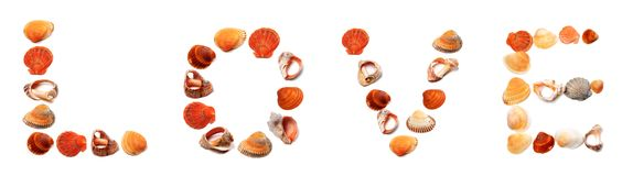 Text LOVE composed of seashells Stock Image