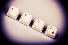 Text love formed with computer keyboard keys Royalty Free Stock Photos