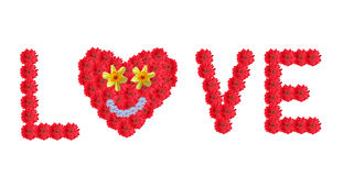 Text. LOVE, made of red gerber daisies and flower heart with smiling face Stock Images