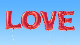 Text love from red foil balloons on the blue sky, 3D rendering. Text love from red foil balloons on the blue sky, 3D Royalty Free Stock Images