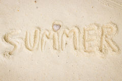Text love summer on white beach Royalty Free Stock Photos