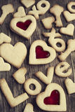 Text Love you from Sugar Cookies on a wooden background Stock Photo