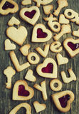 Text Love you from Sugar Cookies on a wooden background Stock Photography