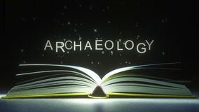Letters fly off the open book pages to form ARCHAEOLOGY text. 3D animation. Text made of glowing letters vaporizing from open book stock illustration