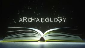 Letters fly off the open book pages to form ARCHAEOLOGY text. 3D rendering. Text made of glowing letters vaporizing from open book vector illustration