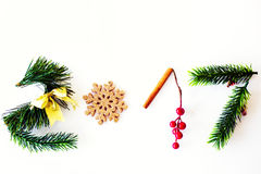 2017 text made with green pine, cinnamon and golden christmas toy Royalty Free Stock Photos