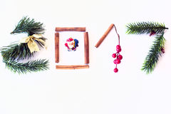 2017 text made with green pine, cinnamon and golden christmas toy Stock Photography