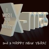 I wish you a merry X-mas and a happy new year royalty free illustration