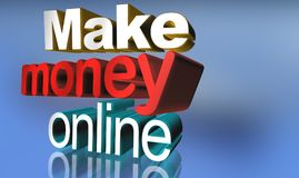 Make money online. Text 'Make money online' in 3D letters and with 'money' emphasized in red, blue background with reflections stock illustration