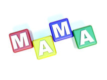 Text MAMA on the child blocks Stock Photo