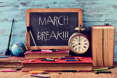 The text march break written in a chalkboard Stock Photo