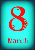 Text 8 March for International Womens Day Stock Images