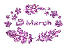 Text 8 March, nice little flowers and leaves of purple glitter on white background royalty free stock image