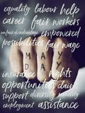 Text may day in the fist of a man. Closeup of the fist of a young caucasian man with the text may day written in its fingers and some words related to this event Stock Image