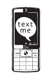 Text me. A vector image of a mobile phone on a white background with text me shown in the text bubble on the screen Stock Images