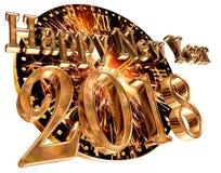 Text med ett nytt år 2018 och en klocka på en vit bakgrund Royaltyfri Bild