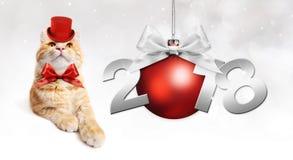 Text 2018 med jul klumpa ihop sig och den magiska ljust rödbrun katten med den röda hatten Arkivfoto