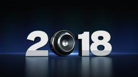 text 2018 med sfärhögtalaren 3D Royaltyfria Foton