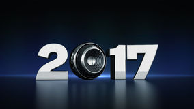 text 2017 med sfärhögtalaren 3D Royaltyfria Bilder