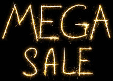 Text Mega sale made by sparkler Stock Photo