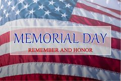 Text Memorial Day and Honor on flowing American flag background royalty free stock photos