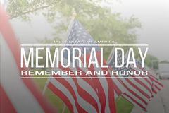 Text Memorial Day remember and honor on row of lawn American Fla royalty free stock photography