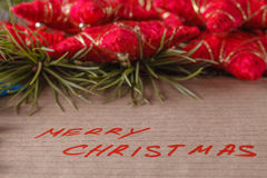 Text merry christmas on crafted papper Royalty Free Stock Images
