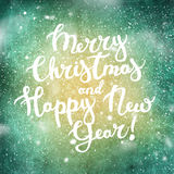 Text Merry Christmas Happy New Year Background Stock Images